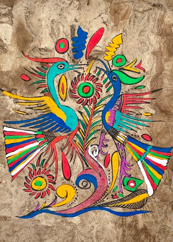 Amate Bark Paper Painting Vintage 70s Hand Painted Mexican Folk Art Bright Neon Birds Peacocks Flowers