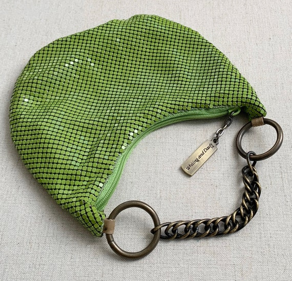 Chartreuse Whiting Davis Wristlet Purse Clutch Vintage 80s Green Chain Mail Metal Mesh Chain Strap Excellent Condition