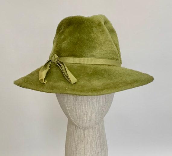 Chartreuse Mohair Fedora Hat Cloche Made in Austria Vintage 60s Christine Original Very Soft Green Grosgrain Ribbon Hatband