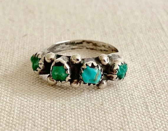 Rustic Turquoise Zuni Ring Band Vintage Native American Zuni Petit Point Sterling Silver Stackable Size 5.75
