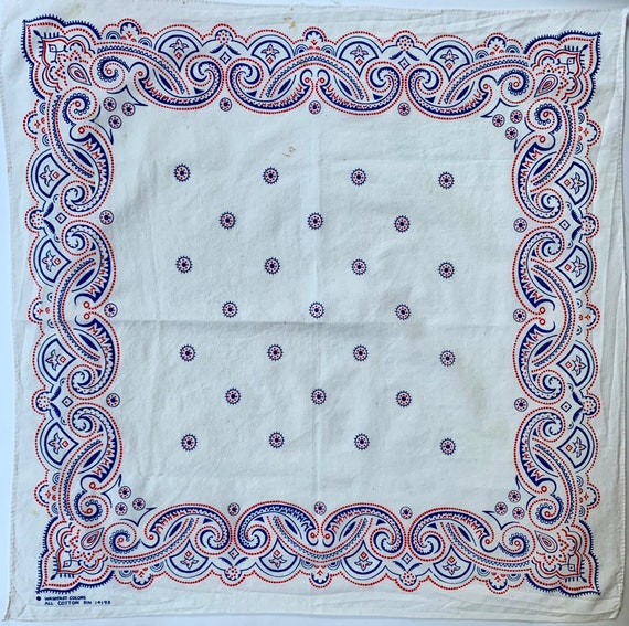 White Red Blue Bandana Vintage Washfast Colors All Cotton Paisley Print RN 14193
