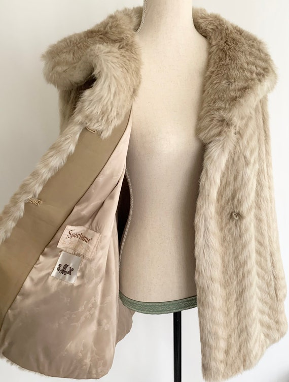 Blonde Faux Fur Coat Jacket Winter Coat Vintage 50s 60s Mid Length Overcoat Ivory Pale Beige Synthetic Fur Made in USA Women's XS