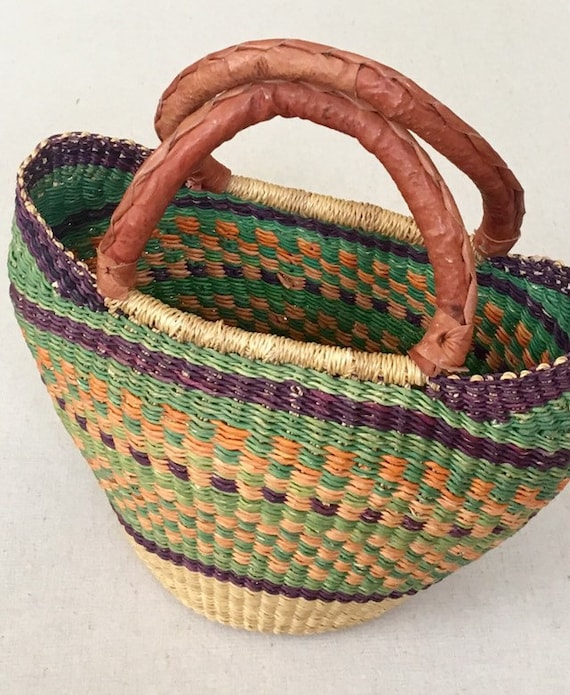 Woven Straw Basket Purse Vintage Boho Beige Orange Green Weave Brown Leather Wrapped Handle Market Bag Tote