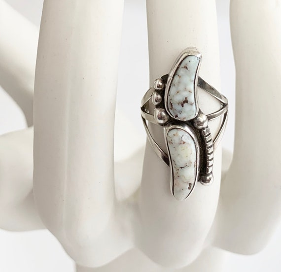 White Buffalo Turquoise Ring Vintage Native American Navajo Artist Signed LB Lenora Begay Two Multi Stone Triple Shank Sterling Silver 7.75