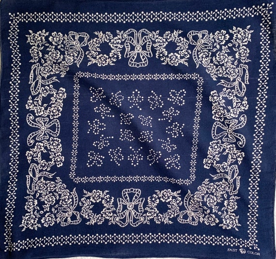 40s Indigo Bandana Elephant Trunk Down Vintage Fast Color All Cotton Floral Flowers Bows Rare and Collectible