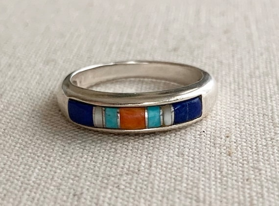Turquoise Inlay Stackable Ring Band Thin Delicate Rings Vintage Sterling Silver Red Coral Lapis Multi Stone Carolyn Pollack Signed Size 7.25