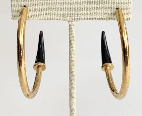 Isabel Marant Hoop Earrings Oversized Large Big Hoops French Designer Jewelry Brass with Black Horn Like Detail Maker Hallmarked