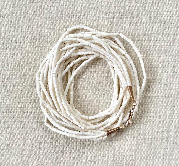 "White Shell Necklace Heishi Style Multi Strand 6 Strand White Shell Bead Beaded Gold Tone Cone Clasp 25"""