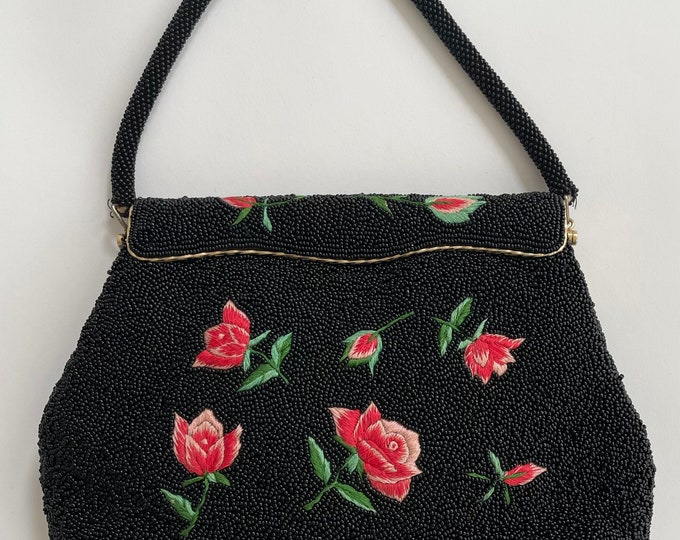 Black Beaded Purse Embroidered Flower Rose Evening Bag Clutch Vintage Mid Century Glass Beads Made in Hong Kong Black Tie Wedding