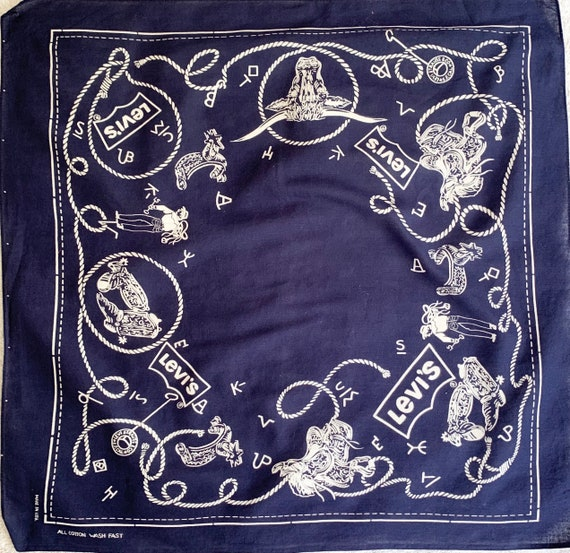 Collectible Levi's Bandana Indigo Blue Vintage Cowboy Lasso Ranch Saddle Logo Print Scarf with Selvedge Edge Rare Color