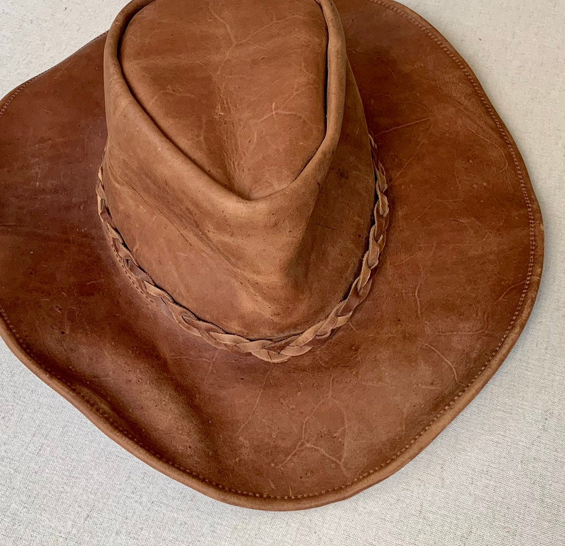 2e4f397c Brown Leather Cowboy Hat Vintage Western Braided Hat Band Distressed ...