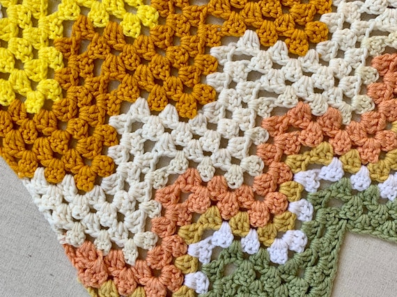 Desert Tone Crochet Throw Blanket Granny Square Afghan Vintage Hand Knit Geometric Chevron White Beige neutral Pop of Color
