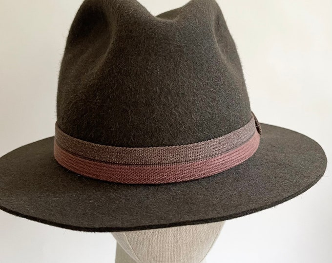 Handsome Mohair Fedora Hat Two Tone Woven Hat Band Vintage Spring Canyon Hats Taupe Brown Mens Womens Classic Hats