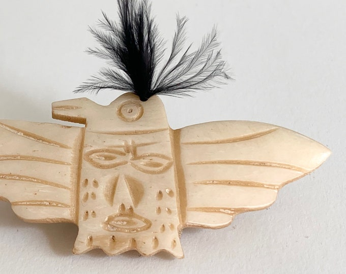 Carved Bone Thunderbird Brooch Pin Vintage Fred Harvey Era Handmade Hand Carved Black Feather Suede Leather Backing
