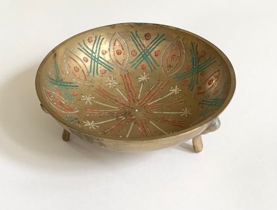 Old Indian Brass Bowl Incense Burner Holder Vintage Painted Etched Footed Dish Made in India