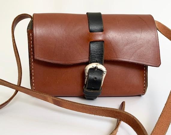 Two Tone Leather Purse Messenger Bag Handbag Black Brown Leather Goods Vintage Minimalist Buckle Closure Adjustable Strap