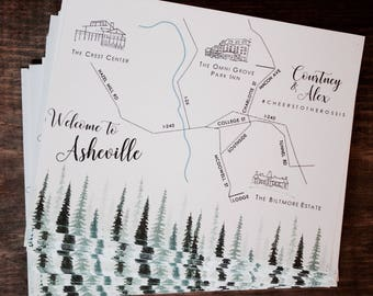 Custom printed map inserts | Double-sided wedding map inserts | Custom wedding map inserts | Wedding weekend maps