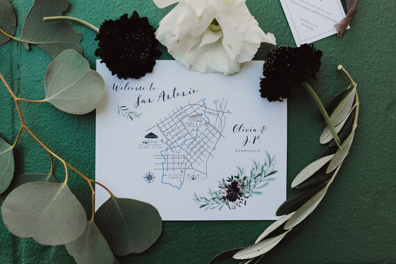 Custom Printed Map Inserts Double Sided Wedding Map Inserts Etsy