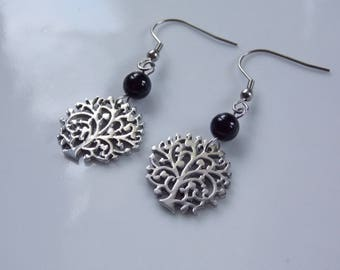 earrings.. .acier.. .arbre life and agate