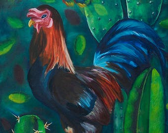 "6.5x16"" painting print peacock, rooster, cactus, India treehouse windmill, dream, blue green night, original, Irish, Auroville birds nature"