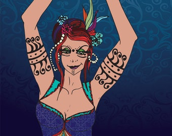 Bellydance, art download original illustration, tribal exotic, woman, blue pattern, poster, figurative, digital, decor, feminist, dancer