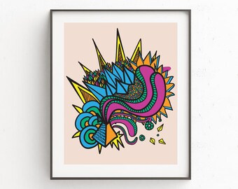 Downloadable art, psychedelic retro handdrawn geometric print