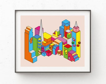 Downloadable art geometric colourful print