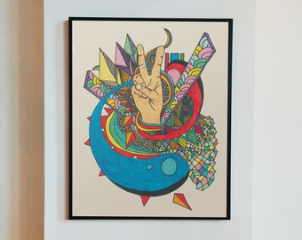 Downloadable art, hand drawn retro psychedelic hand-drawn peace sign