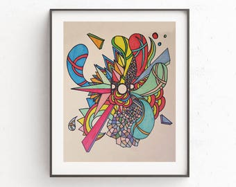 Downloadable art, hand drawn retro psychedelic pop explosion! Affordable art, graphic design, wall hanging, decor, poster, gift idea
