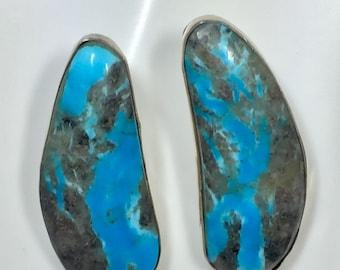 Sterling Silver Turquoise Earrings-Handmade