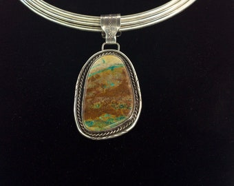 Large Turquoise Stone & Sterling Silver Pendant (necklace not included)