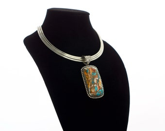 Hand-inlayed Turquoise, Abalone, and Bronze in a Sterling Silver Pendant (necklace not included)