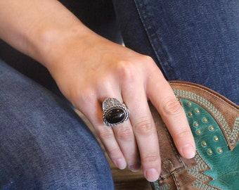 Onyx & Sterling Silver Ring-Handmade