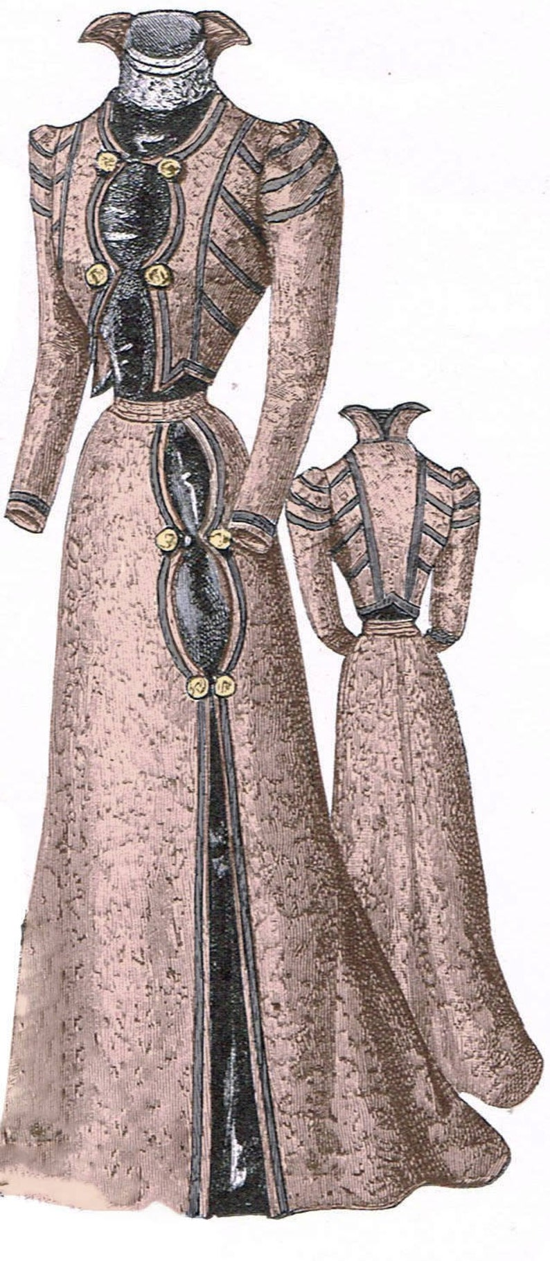 Edwardian Sewing Patterns- Dresses, Skirts, Blouses, Costumes 1899 Victorian Walking Suit Pattern - sized for you from antique originals - with bonus lingerie pattern and library - #308 $9.95 AT vintagedancer.com