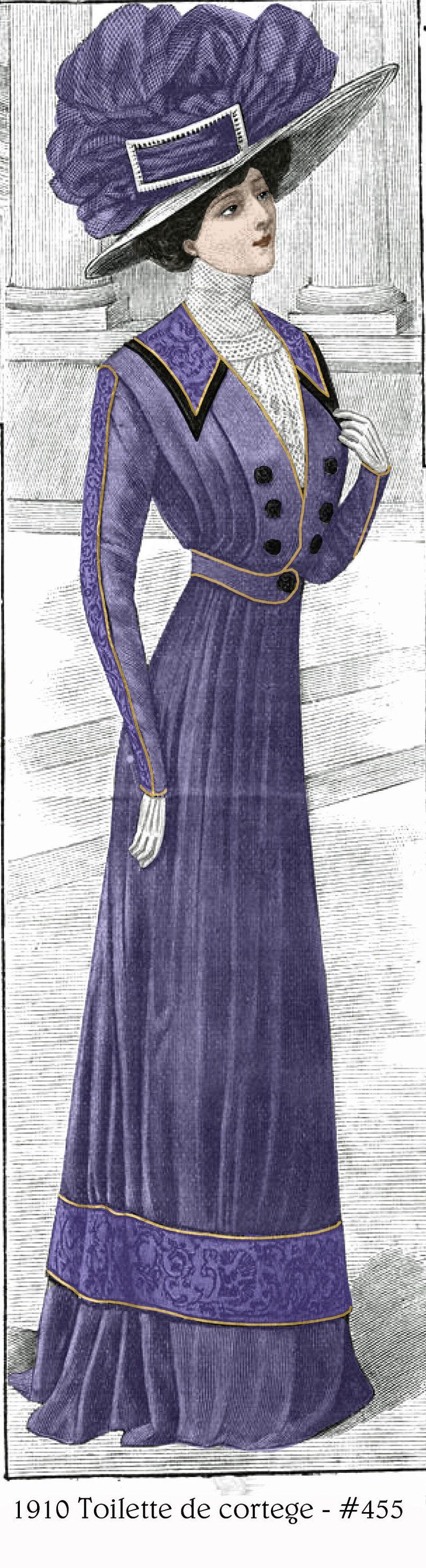 Edwardian Sewing Patterns- Dresses, Skirts, Blouses, Costumes 1910 Downton/Titanic Toilette de Cortege pattern - sized for you from antique original - includes bonus lingerie accessories library - 455 $9.95 AT vintagedancer.com