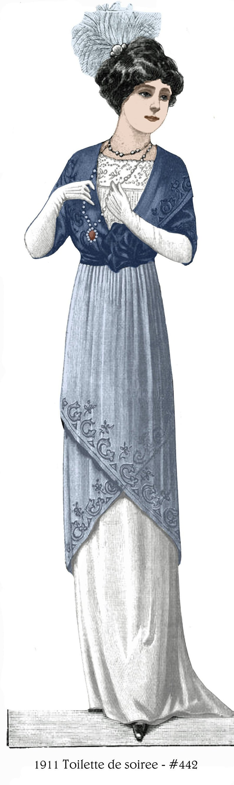 Titanic Clothing, Fashion, Outfit Ideas 1911 Titanic/Downton Gown for soiree - sized for you from antique original - includes bonus lingerie patterns library - #442 $9.95 AT vintagedancer.com