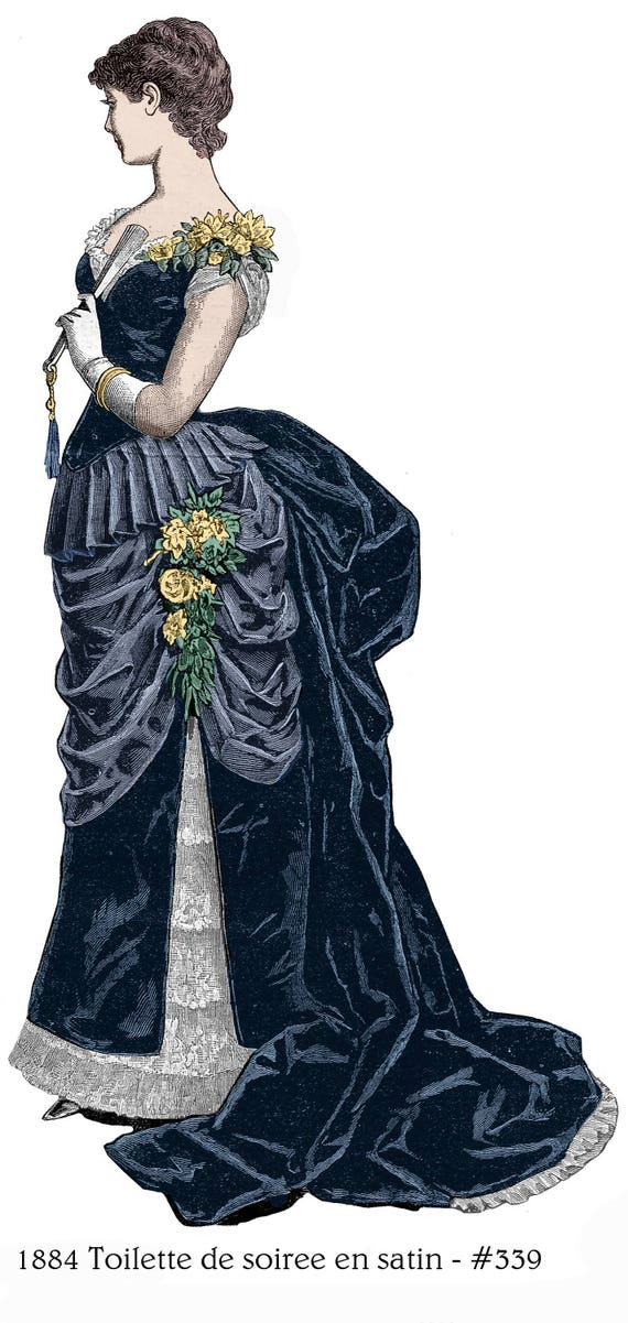 Guide to Victorian Civil War Costumes on a Budget 1884 Victorian Bustle Dress Pattern for Soiree - sized to your measurements from antique originals - bonus lingerie patterns library - #339 $9.95 AT vintagedancer.com