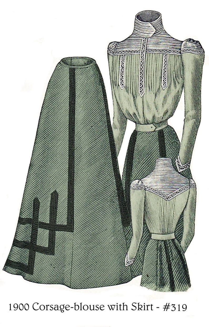 Titanic Clothing, Fashion, Outfit Ideas 1900 Victorian Blouse and Skirt pattern - sized for you from antique original - with bonus patterns - lingerie accessories & library - #319 $9.95 AT vintagedancer.com