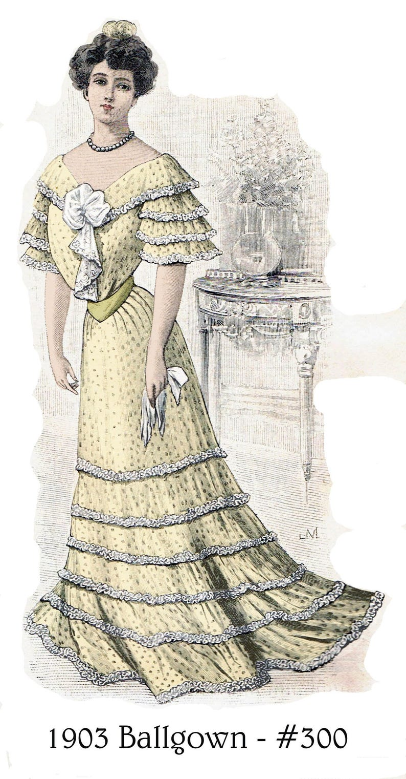 Edwardian Sewing Patterns- Dresses, Skirts, Blouses, Costumes 1903 Edwardian Ballgown pattern - sized for you from antique original - with bonus patterns for lingerie accessories & library - #300 $9.95 AT vintagedancer.com