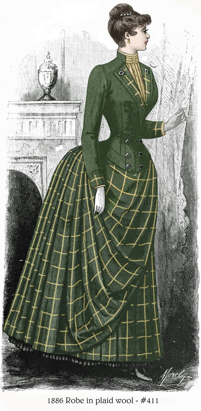 1886 Victorian Pattern - Bustle Dress in Wool Plaid - sized for you from  antique original - includes bonus patterns for lingerie - #411