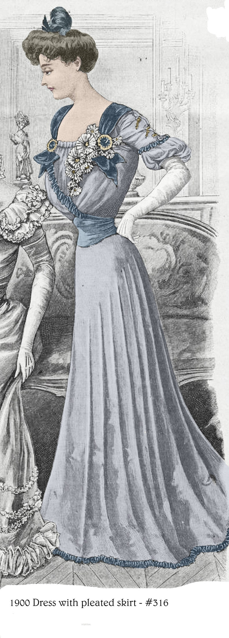 Edwardian Sewing Patterns- Dresses, Skirts, Blouses, Costumes 1900 Edwardian Ballgown pattern - sized for you from antique originals - with bonus patterns for lingerie accessories library - #316 $9.95 AT vintagedancer.com