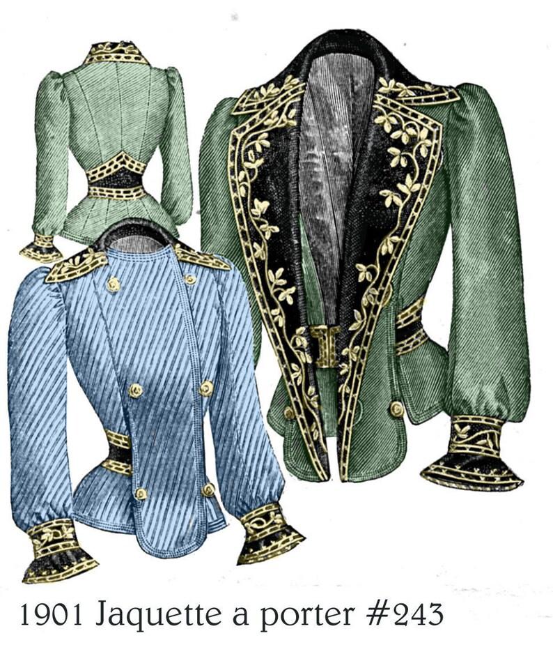 Edwardian Sewing Patterns- Dresses, Skirts, Blouses, Costumes 1901 #345 Edwardian Jacket - Custom paper patterns for Darlene S $15.00 AT vintagedancer.com