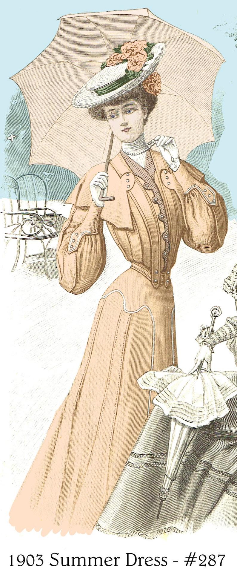 Edwardian Sewing Patterns- Dresses, Skirts, Blouses, Costumes 1903 Summer Dress with unique design pattern - sized for you from antique original - Bonus lingerie patterns. #287 $9.95 AT vintagedancer.com
