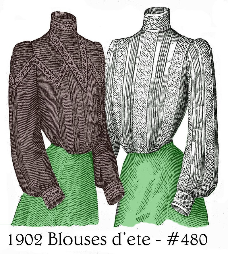 Edwardian Sewing Patterns- Dresses, Skirts, Blouses, Costumes 1902 Edwardian Blouse pattern with variation - sized for you from antique originals - includes lingerie pattern reference material - #480 $4.95 AT vintagedancer.com