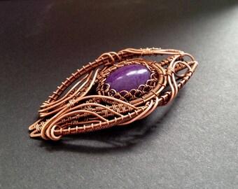 Purple romantic mountain jade pendant, wire wrap pendant, copper jewelry, Gemstone jewelry, metalwork pendant, wire wrap jewelry