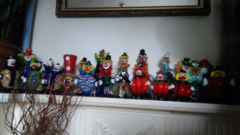 Collection of 23 Vintage Murano Art Glass Clowns
