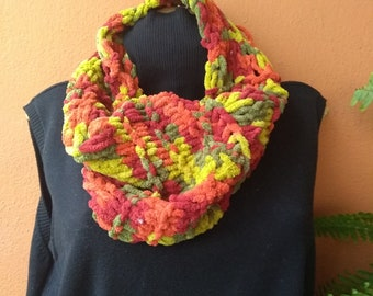 Green Red Short Infinity Scarf