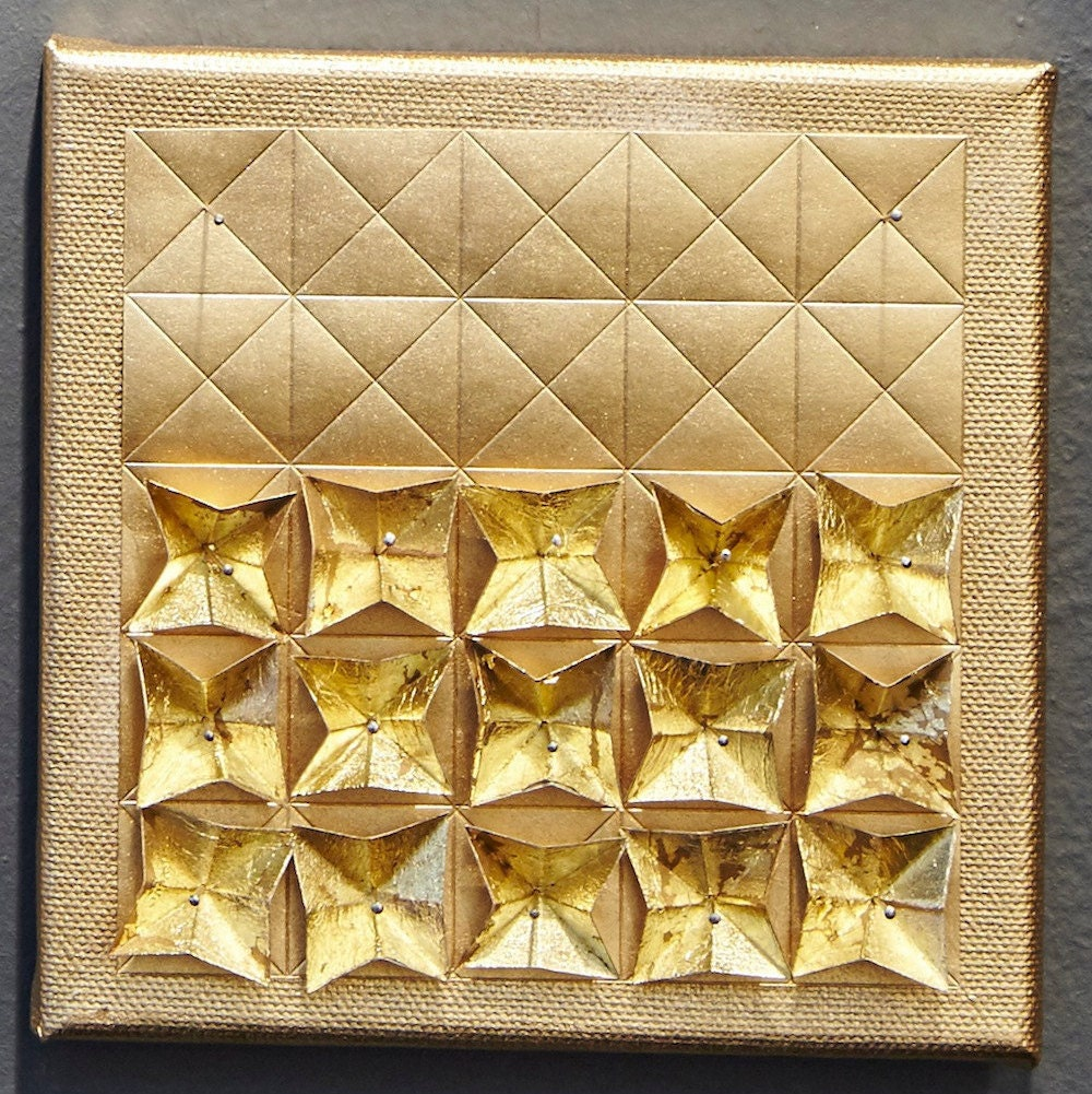 Origami Paper Art Gold Metallic Wall Hanging Limited | Etsy