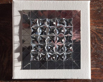 Origami Paper Art - Silver on White Paper Wall Hanging - Limited Edition