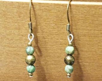 Stone and Bronze drop bead earrings